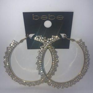 NEW! bebe Gold With Crystal Hoop Earrings